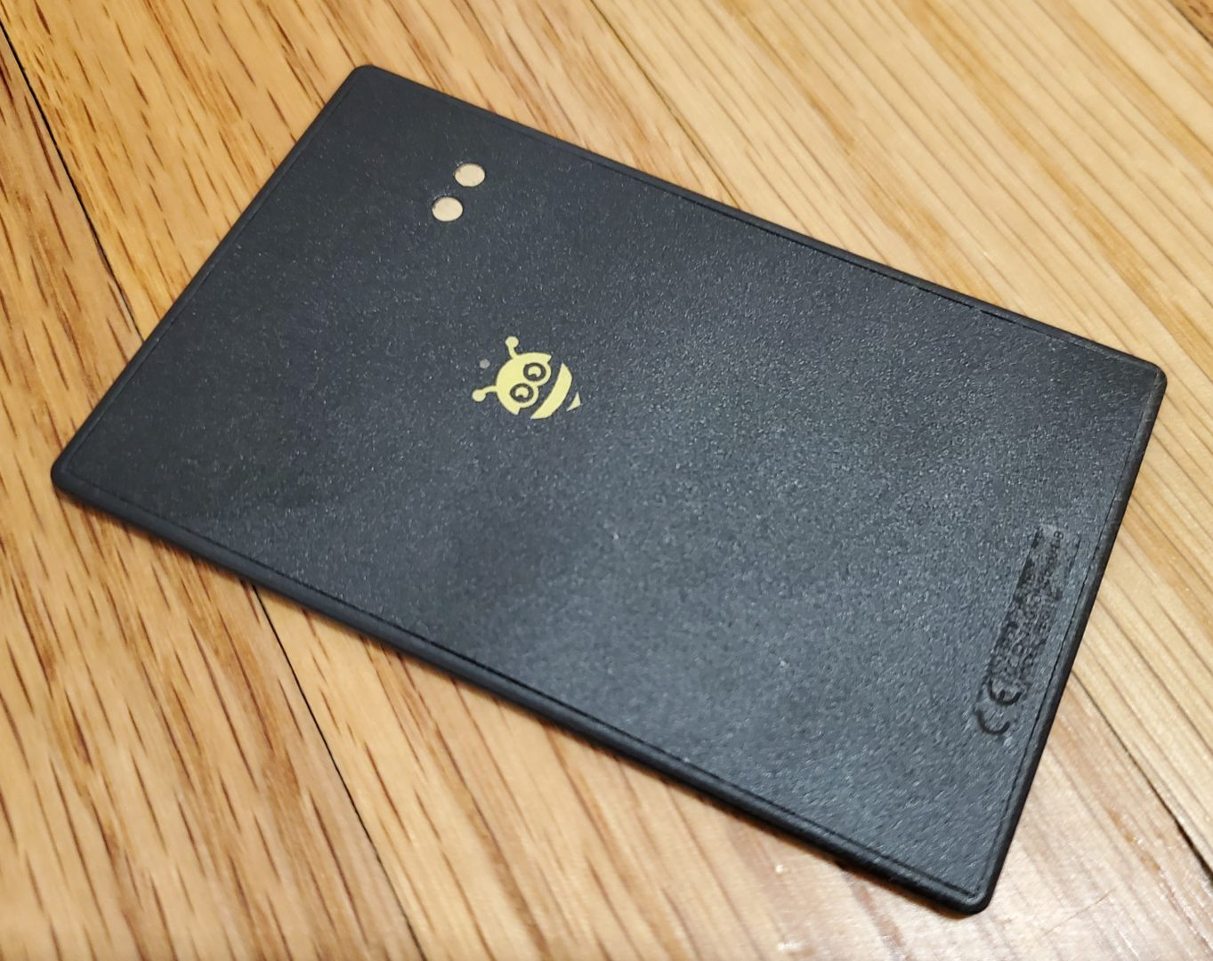close up of the back of the BlackCard, part of the PebbleBee Finder 2.0 and BlackCard Review