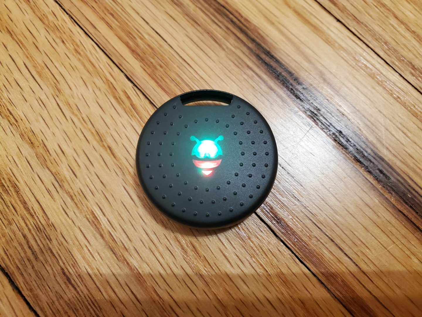 the front of the pebblebee tracker 2.0, where there is a green and red LED and the button, part of the PebbleBee Finder 2.0 and BlackCard Review