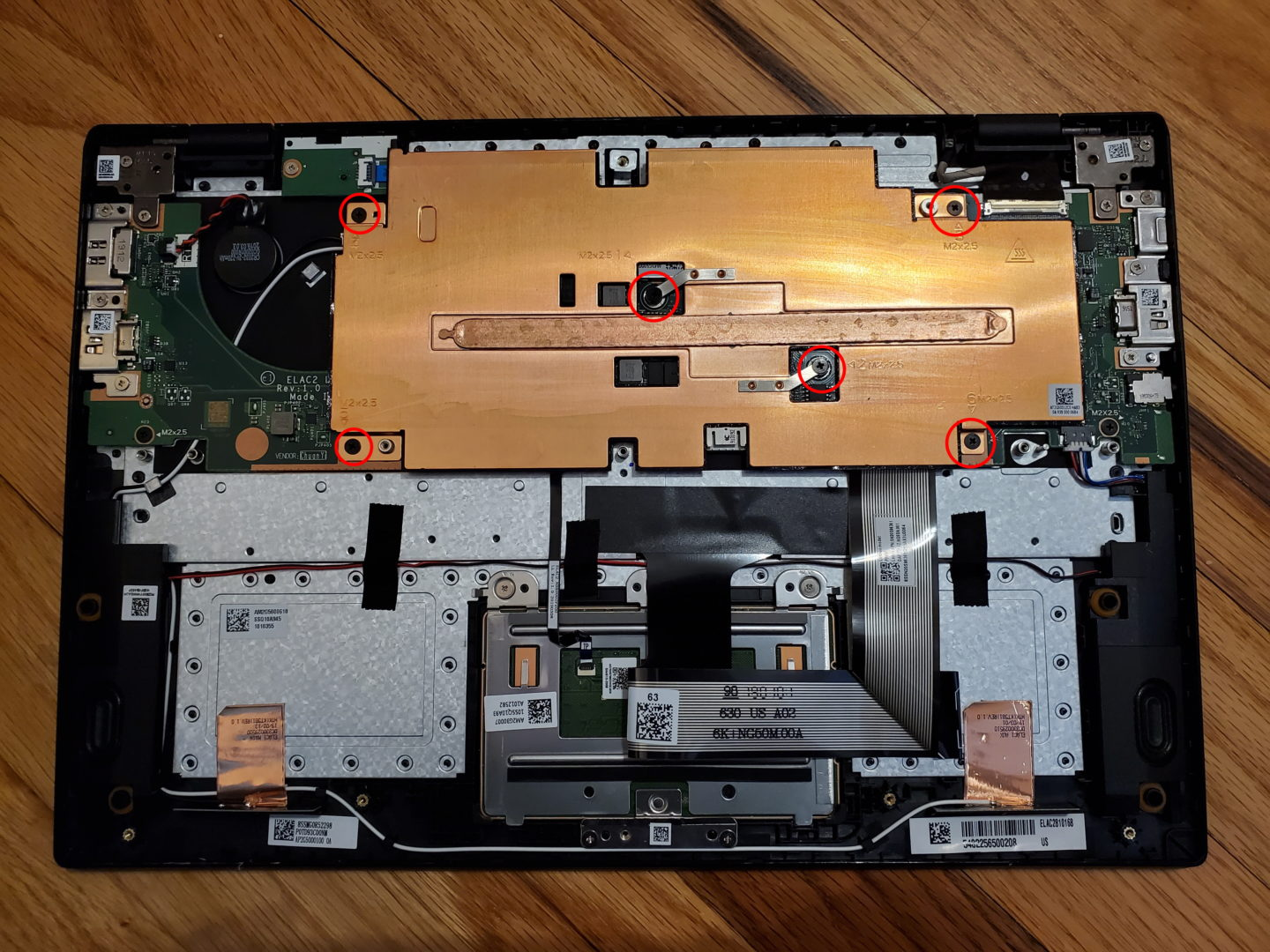 photo of the bottom cover and battery removed on a Lenovo 14w 81MQ Laptop