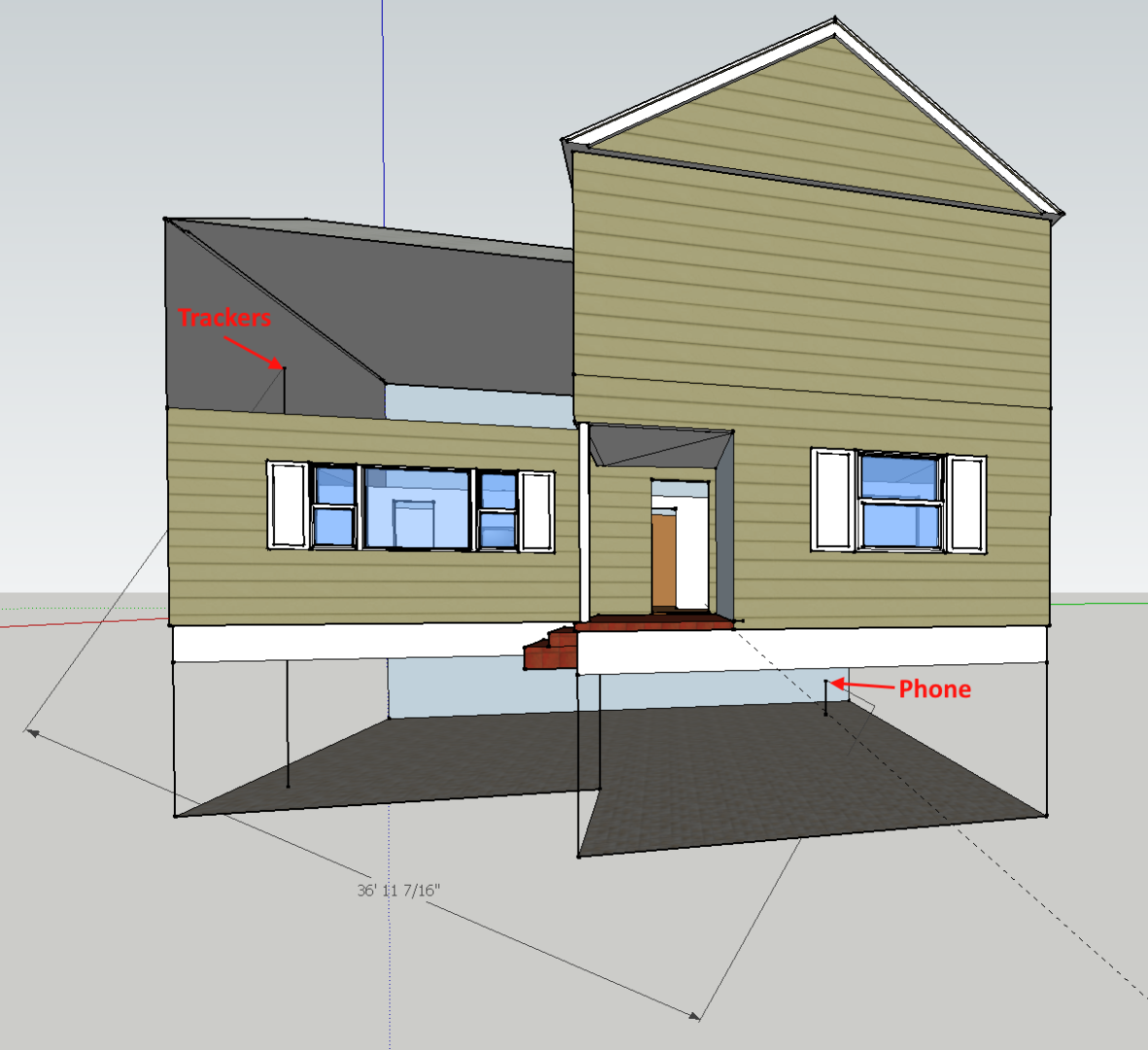 a rough Google SketchUp photo of my house and where the trackers were tested, part of the PebbleBee Finder 2.0 and BlackCard Review