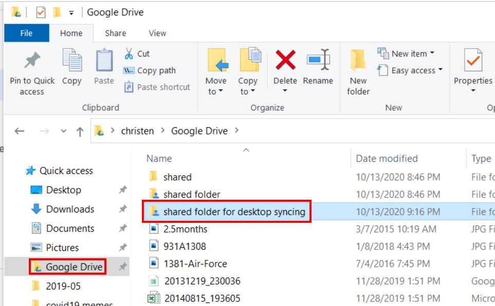 screenshot showing shared folder through Google's Backup and Sync desktop app