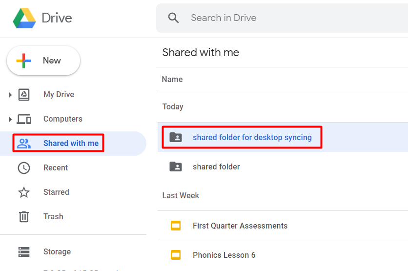"""screenshot of the """"shared with me"""" section of google drive"""